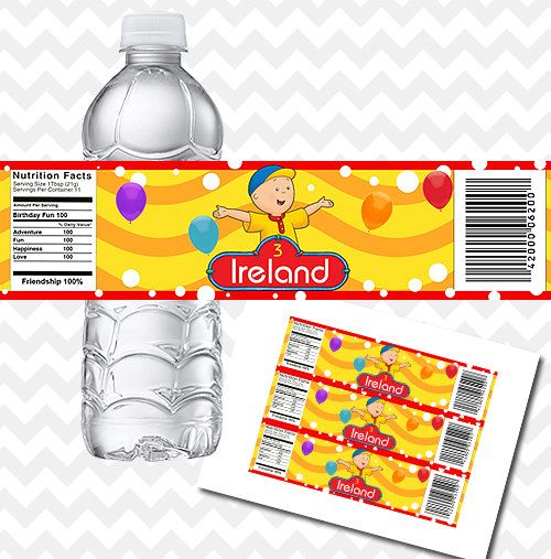 Caillou Water Bottle Labels Birthday Party Printable by PhotoGoof, $4.50