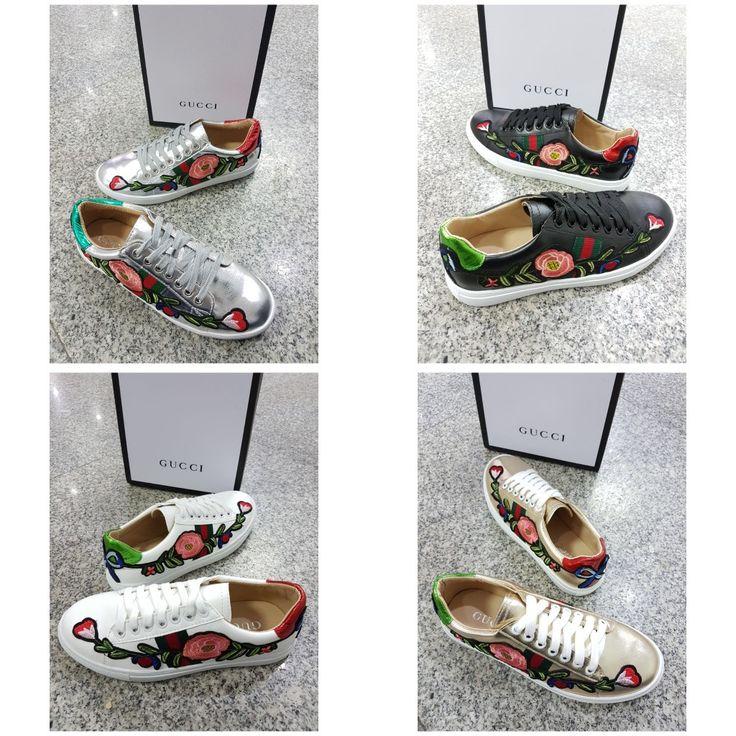 Sepatu Gucci Flower 4921 White  35,36,37,38,39,40 Black 35,36,37,38,39,40 Silver 35,36,37,38,39 Gold 35,36 + Box GUCCI  385rb