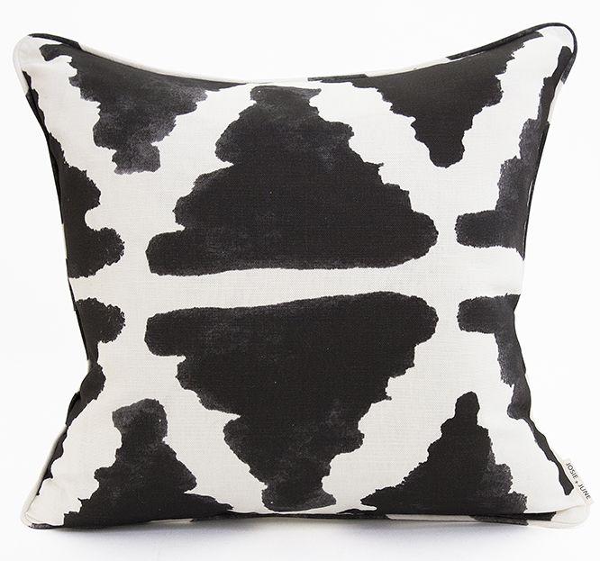 Josie and June Australian made  -  Linen-cotton cushion. Shop the 'Inky Triangle' design at www.josieandjune.com  Photo - by The Design Villa