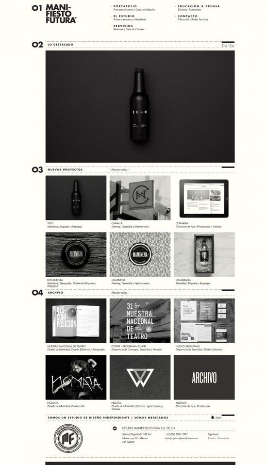 Independent Design Studio - Manifiesto Futura -Black, grey and off-white theme -Image grid layout -Larger image used to draw focus -Futura being the dominant type