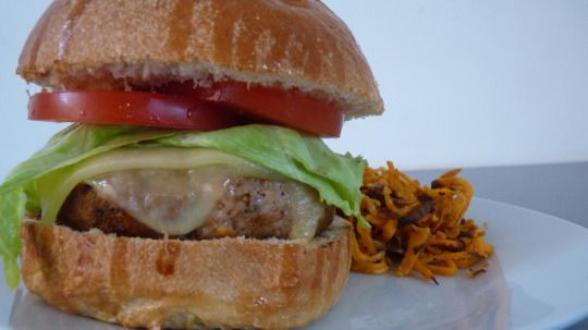 Spicy BBQ turkey burgers with spiralizer haystack sweet potato curly fries