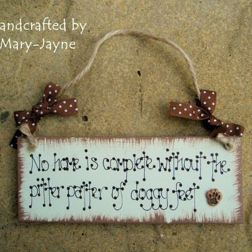 Shabby Chic Wooden Plaque PITTER PATTER OF DOGGY FEET