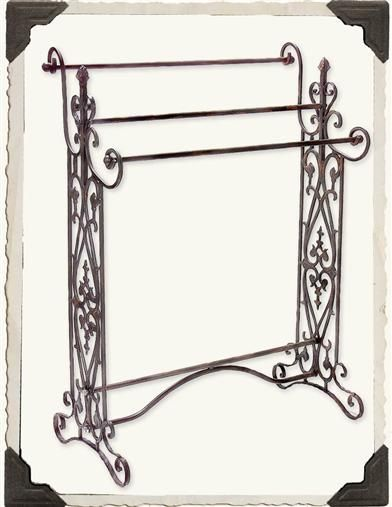 VICTORIAN QUILT RACK--Hand forged wrought iron.  35 x 26 x 13 in. 80.00