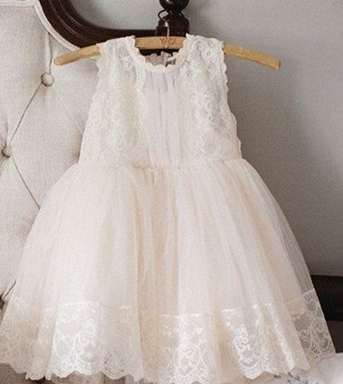"""The """"Kate"""" Lace Flower Girl Dress Ivory Pink"""
