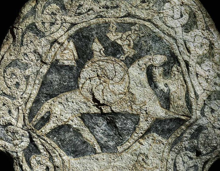 Viking picture stone with God Odin (Wotan) on his horse Sleipnir, welcomed by a Valkyrie with a drinking horn (detail).   Lillbjors, Gotland (Sweden); 8th century   See also 30-01-10/49, 51