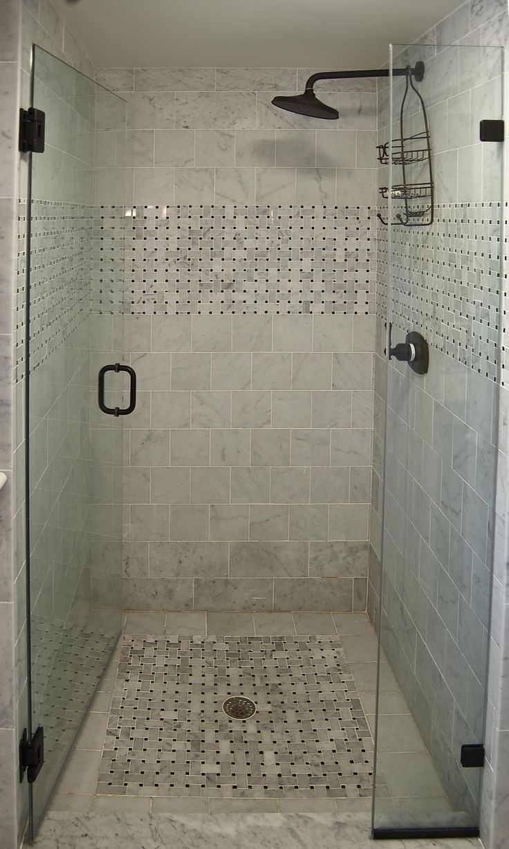 small shower basket weave strip rainshower head single dial control - Small Shower Design Ideas