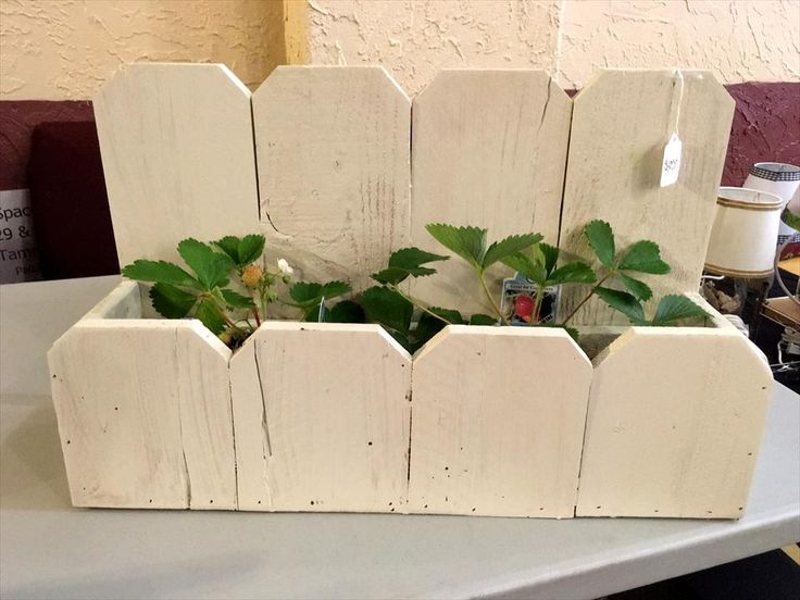 Creamy white pallet planter 130 inspired wood pallet for White painted pallets