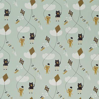 Kite Wallpaper - Mint by Naken Interiors