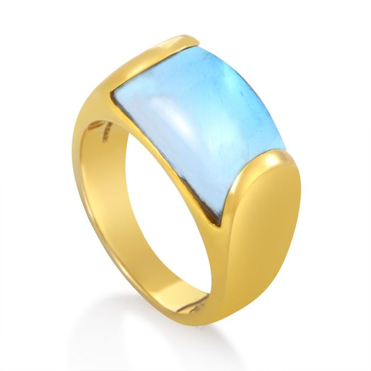 bvlgari tronchetto 18k white gold blue topaz ring