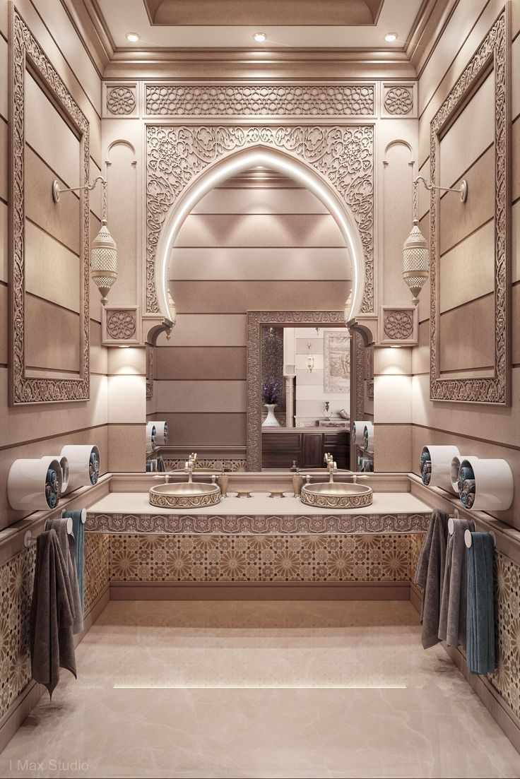 4. Bathroom Graphic tile patterns with infinite repetitions, this bathroom is very elegant.