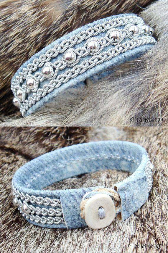 Denim Leather Swedish Lapland Bracelet Cuff YDUN by TjekijasDesign