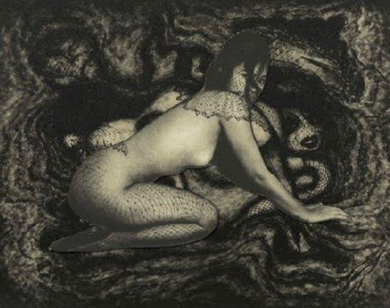 Pierre Molinier. Collage original définitif d'Emanuelle, planche 49 du Chaman et ses créatures