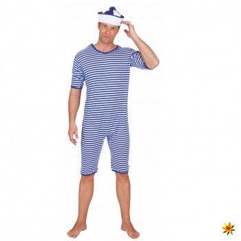 Historischer Badeanzug, Ringelware blau-weiß kaufen