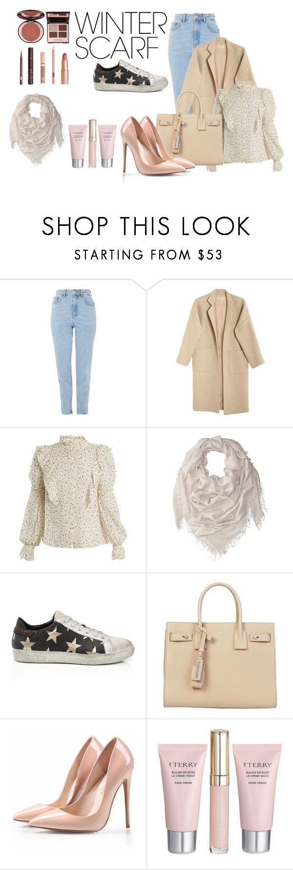 """""""ieur"""" by sunshine-189 ❤ liked on Polyvore featuring Topshop, Mara Hoffman, Rebecca Taylor, Chan Luu, Yves Saint Laurent, By Terry, Charlotte Tilbury and winterscarf"""