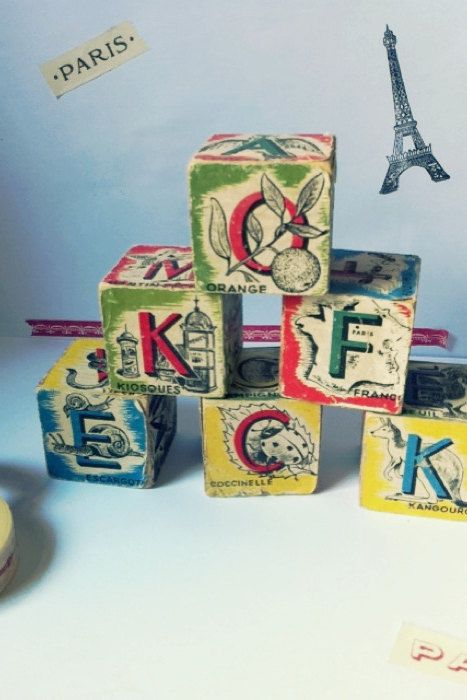 Vintage abc blocks in a tray