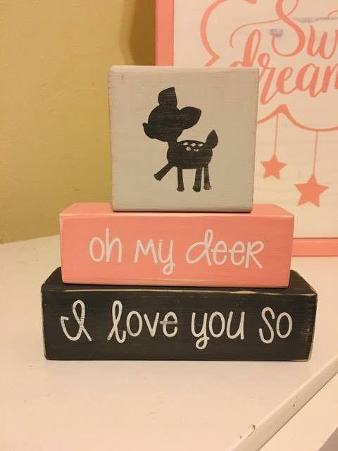Customized Baby Nursery Blocks, Baby Girl, Baby Boy, Nature Theme, Oh My Deer, I Love You So, Woodland