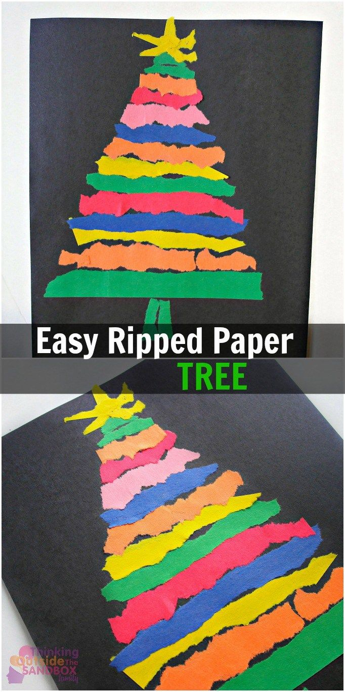 Easy Ripped Paper Tree Craft More