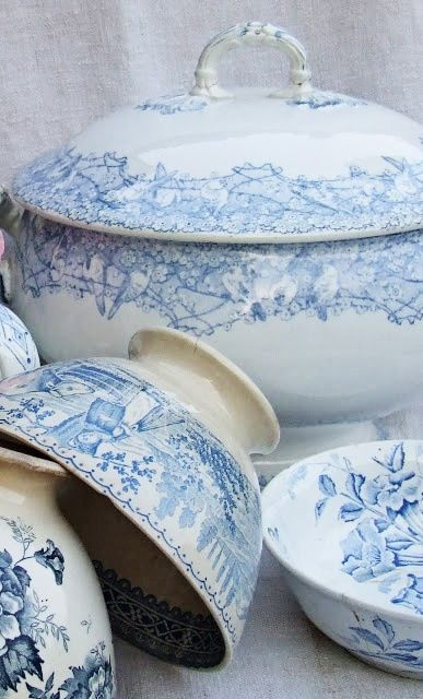 Blue and white transferware beauties!