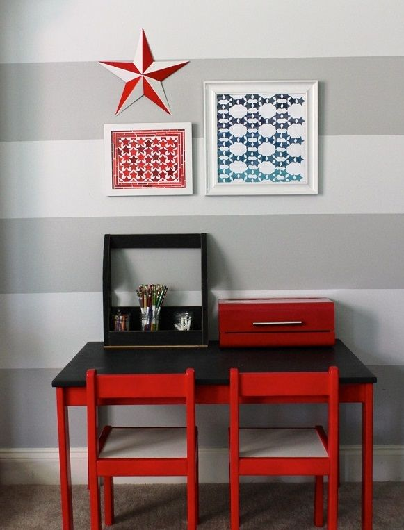 DIY Paint Chip Design: Table Décor and Wall Art: Red And Blue Star Mosaic Art ~ hivenn.com Decorating Inspiration