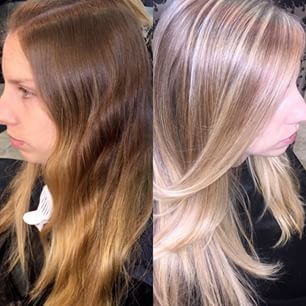 I had an awesome #transformation on my new #client today! We went from an old golden Ombre to #beautiful buttery blonde! #hair #modernsalon #beauty #hairstylist #priscillaSalon #blonde #piclay #salon
