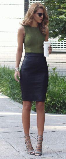 Nada Adelle + spring outfit + leather midi skirt + sleeveless khaki vest + heels  Top: My Bandage Dress, Skirt: Loft, Heels: Public Desire.... | Style Inspiration