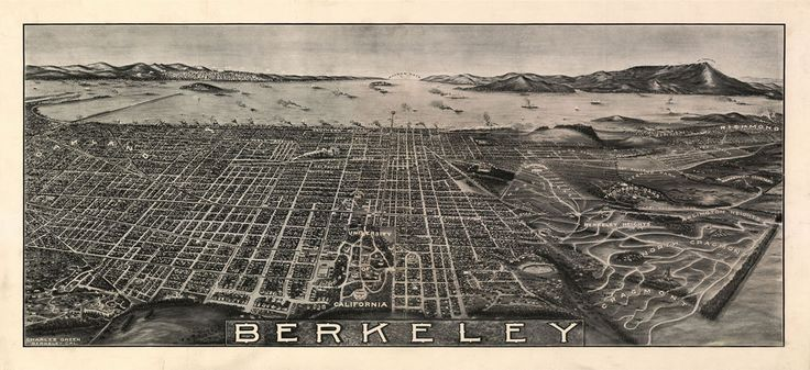 "1909 Berkeley California, antique City View, Map, 24""x12"" Print, Cal University"