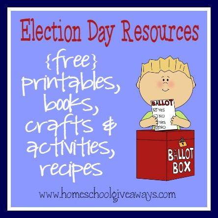 Election Day Resources: {free} printables, activities & books http://homeschoolgiveaways.com/2014/10/election-day-resources-free-printables-activities-books/