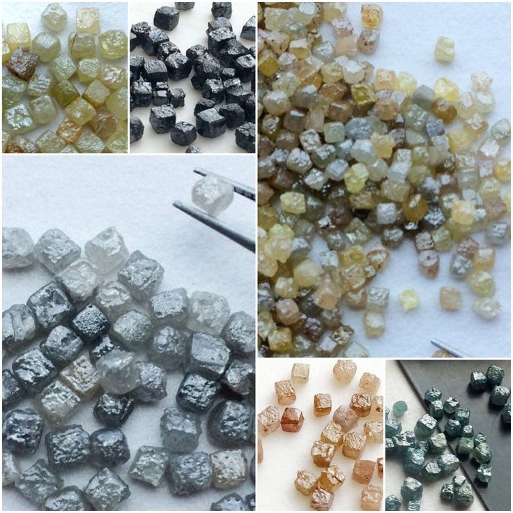 Rough Diamond Cubes - A beautiful collection on rough/raw diamond cubes in all colors and sizes. Drilled and undrilled options. Convo us for custom requirement.