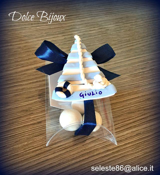 Bomboniera battesimo nascita primo compleanno barca a vela tema marino con nome personalizzato. Disponibile per bimbo e bimba