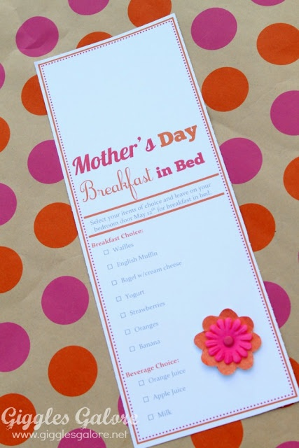 Free Mother's Day Breakfast in Bed printable from Giggles Gallore.