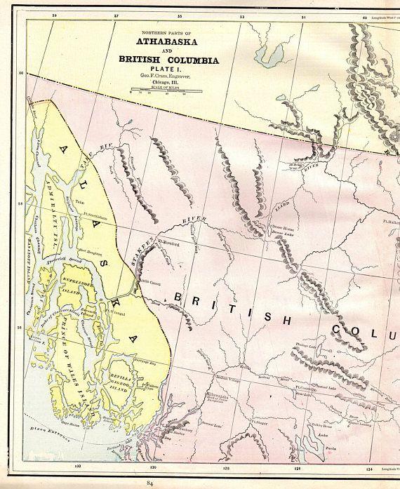 1890 Rare Antique ATHABASKA CANADA Map British Columbia Map