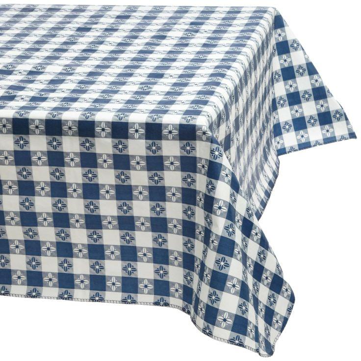 Amazon.com   Kane Home Products Eco Vinyl Tablecloth, Blue Check, 52z70,