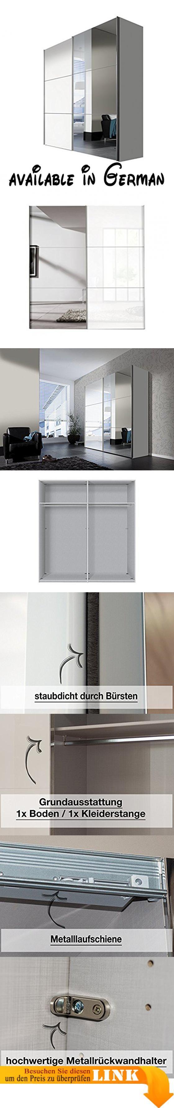 B01GRYZ6HO : Express Möbel Kleiderschrank Schlafzimmerschrank Weiß Hochglanz 200 cm mit Spiegel 2-türig BxHxT 200x216x68 cm Art Nr. 01710-184. Schwebetürenschrank 200 cm breit  2-türig in Weiß Hochglanz Lackiert und Spiegel. Die Griffleisten des Kleiderschrank sind Alufarben Schrank mit hochwertigen Metallbeschlägen.. Schrank Korpus Weiß Front mit 3 Paneelen in Weiß Hochglanz Lack und 3 Spiegelpaneelen Schrank Maße: BxHxT 200x216x68 cm. Die Schrank Wäscheboden