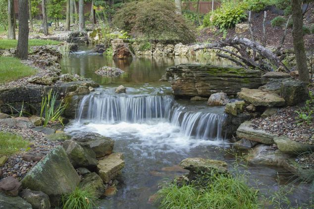 expansive waterfalls and pond in crown point indiana, outdoor living, patio…
