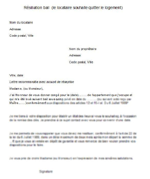 Modele Resiliation De Bail Avec Preavis D Un Mois En 2020