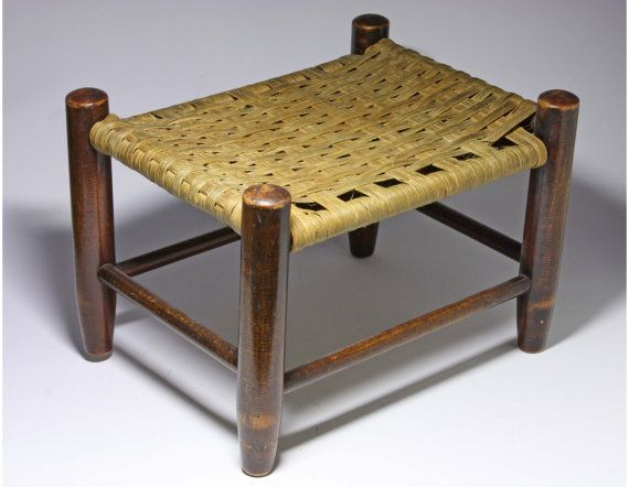 Vintage Step Stool with Basket Weave Design by BewitchingVintage