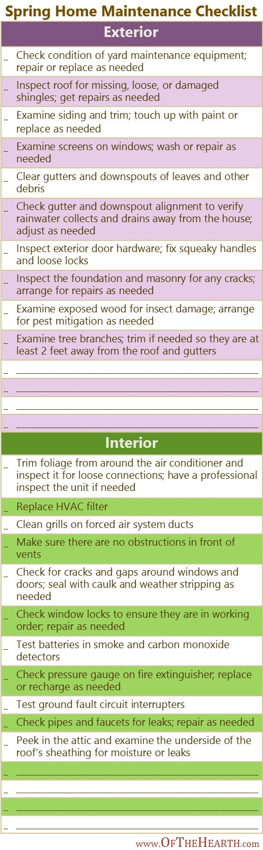 Spring Home Maintenance Checklist - good to know in case I ever get around to doing this.