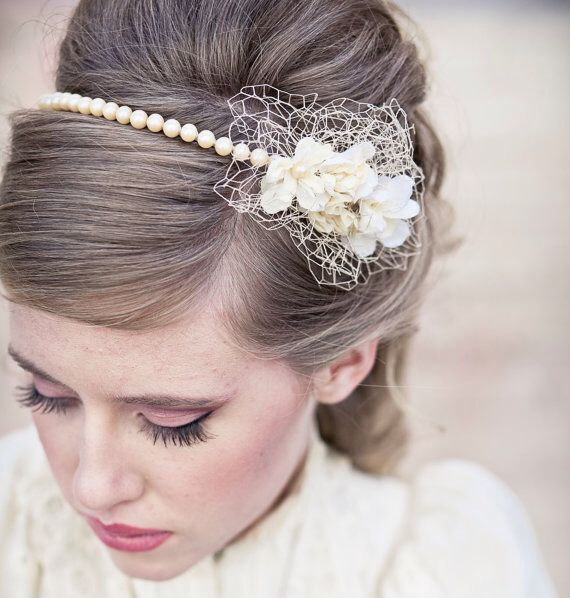 Image from http://s3.weddbook.com/t4/2/2/2/2226664/wedding-hair-vintage-romance-pearl-headband-or-wedding-tiara-with-birdcage-netting-pearl-wedding-headband-vintage-bridal-headpiece.jpg.