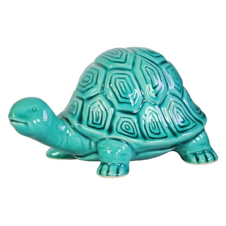 Urban Trends Ceramic Galapagos Tortoise Figurine Turquoise - 12954