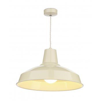 The David Hunt Lighting Collection RECLAMATION retro style cream metal pendant light, double insulated