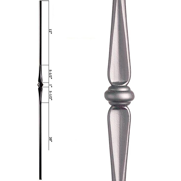 HOUSE OF FORGINGS Round 44 in. x 0.625 in. Ash Grey Single Knuckle Hollow Wrought Iron Baluster