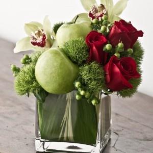 Modern classic asymmetrical flower arrangement as centerpiece
