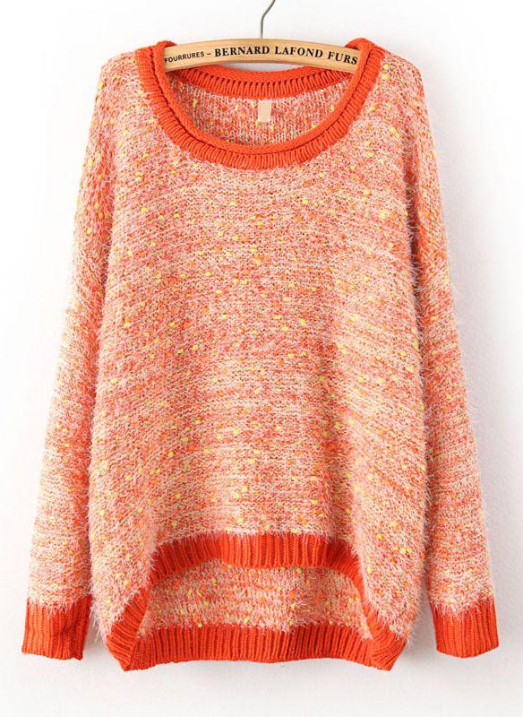 Orange Long Sleeve Shaggy Asymmetrical Kint Sweater - Sheinside.com