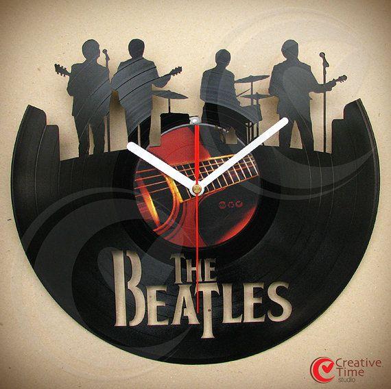 Vinyl wall clock The Beatles band by CreativeTimeStudio on Etsy