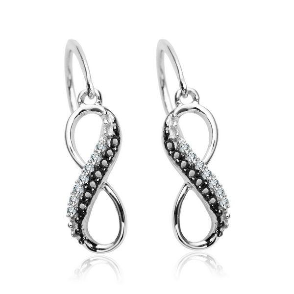 Złote kolczyki z brylantami nieskończoność - Biżuteria srebrna dla każdego tania w sklepie internetowym Silvea