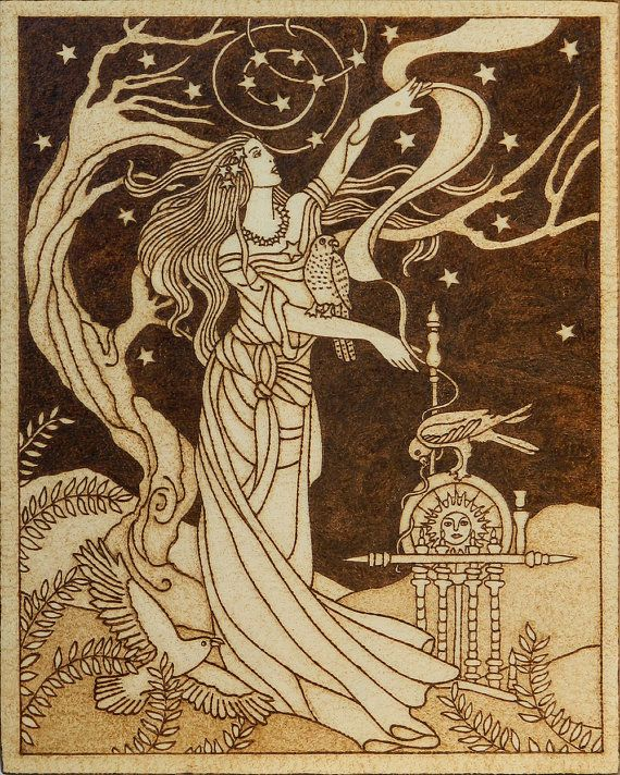 Beautiful pyrography artwork depicting Frigg, Norse goddess of wisdom and foreknowledge, wife of Odin and mother of Baldr with three sacred birds
