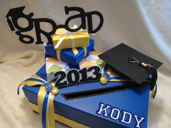 Royal blue yellow white with black accents graduation card for Awesome money box
