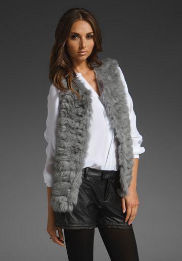 Joie Ivana Knitted Rabbit Fur Vest in Opal Grey