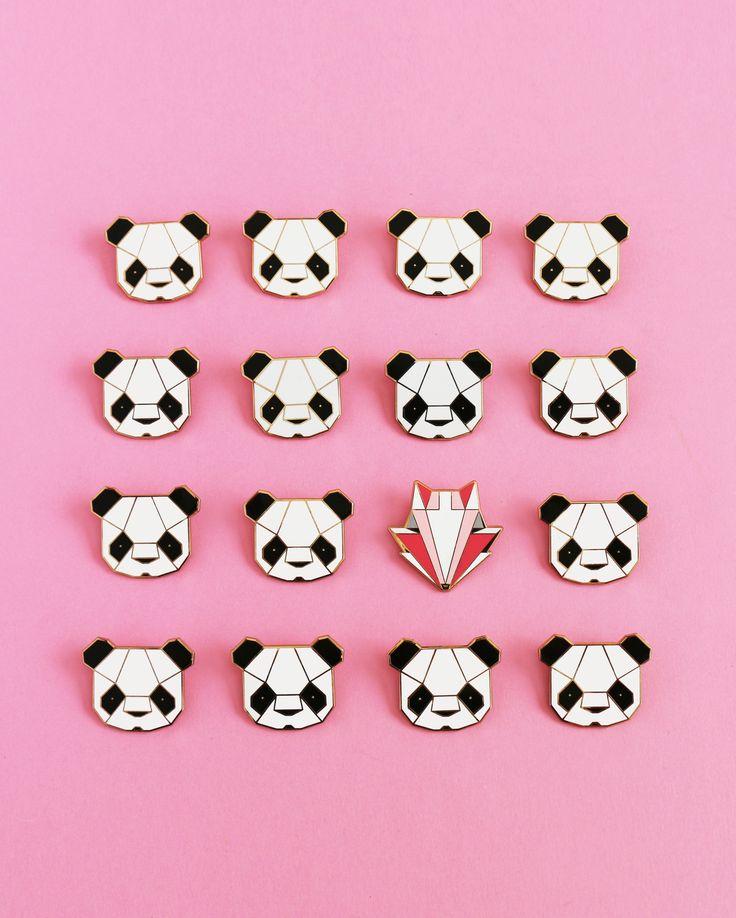 Panda and Fox Brooches - Sketchinc Etsy