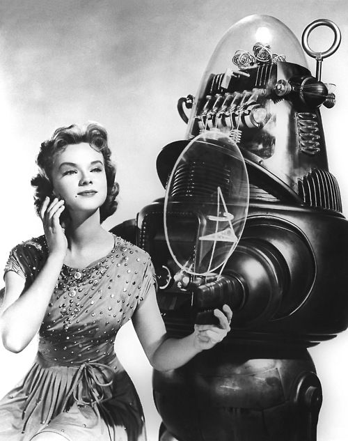 Anne Francis aka Altaira Morbius and Robby the Robot - 'Forbidden Planet', MGM, 1956.